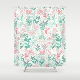 Flirt Mint Blush Shower Curtain