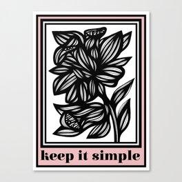 Bright Flowers Pink Black White Canvas Print