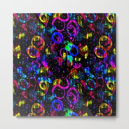 Sweet As Candy Black - colorful watercolor pattern by Lo Lah Studio Metal Print