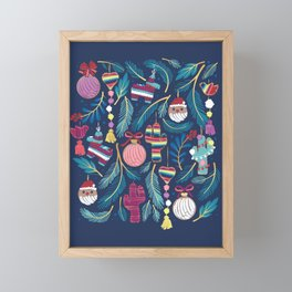 Mexican Christmas Tree // blue background blue pine leaves multicoloured holiday decorations pan dulce balls cacti hearts birds pom-pom garland pinatas santa claus conchas donuts Framed Mini Art Print