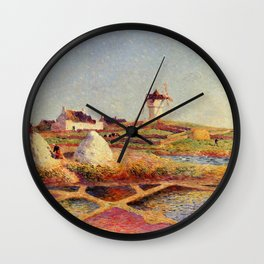 Landscape with Mill near the Salt Ponds & Tulip fields by Ferdinand Du Puigaudeau Wall Clock