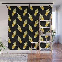 Kawaii Pineapple Floats on Black Wall Mural