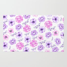 Modern hand painted purple pink watercolor floral pattern Rug