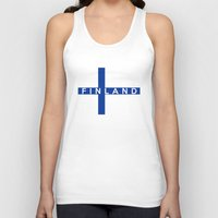 finland Tank Tops featuring finland country flag name text by tony tudor