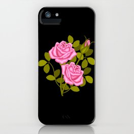 Painted Pink Roses iPhone Case