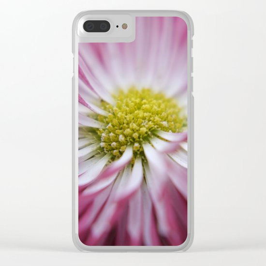 pink bellis on black -1- Clear iPhone Case
