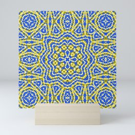 Yellow green kaleidoscope . Mini Art Print