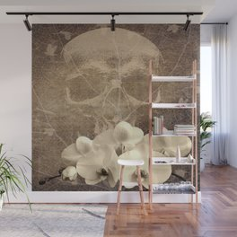 Skull Human Vintage Flowers Digital Collage Wall Mural
