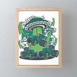 Tractor Alien UFO Farmers Farming Agriculture Gift Framed Mini Art Print
