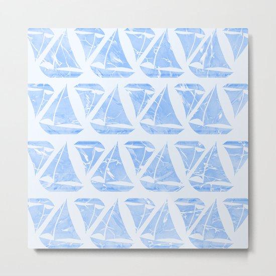 Blue Sailing Boats Water Pattern Metal Print