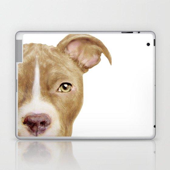 Pitbull light brown Dog illustration original painting print Laptop & iPad Skin