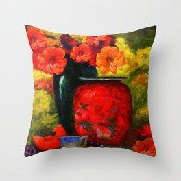 RED-ORANGE AMARYLLIS RED VASE STILL LIFE Throw Pillow
