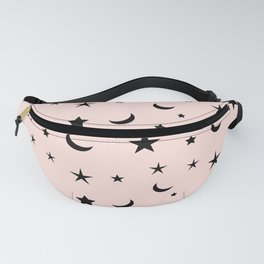 Black moon and star pattern on pink background Fanny Pack