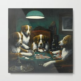 Dog Poker Game by Cassius Marcellus Coolidge Metal Print