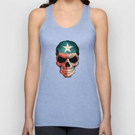 Dark Skull with Flag of Texas Unisex Tank Top