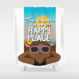 The beach is my happy place - Black skin Shower Curtain