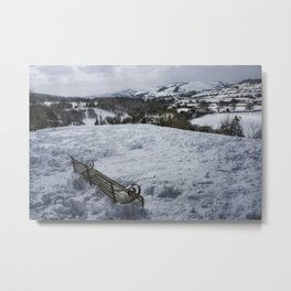 Snow Park Bench Metal Print