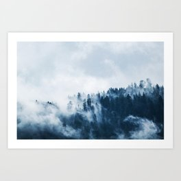CLOUDS - WHITE - FOG - TREES - FOREST - LANDSCAPE - NATURE - TIMBER - WOODS - PHOTOGRAPHY Art Print