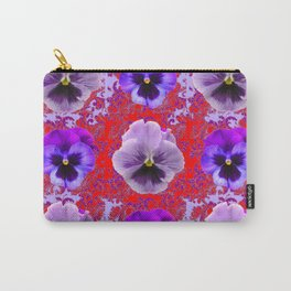 RED & PURPLE PANSIES GARDEN PATTERN Carry-All Pouch