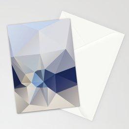 Bluecon – low poly art, blue print, sea summer beach, ocean maritim, sky cloud, mountain landscape Stationery Cards