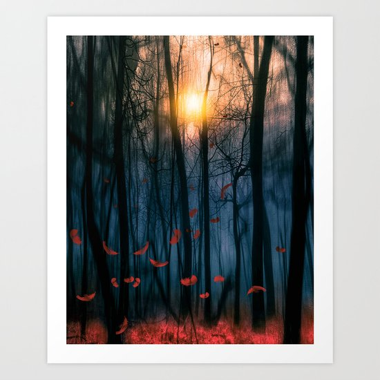 Red feather dance  (colour option) Art Print