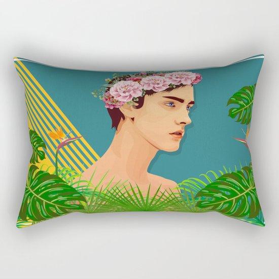 BOY OVER FLOWERS Rectangular Pillow