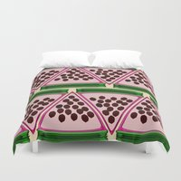stripe Duvet Covers featuring Watermelon Stripe by Glanoramay