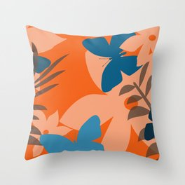 Coral leaves with blue butterflies Throw Pillow