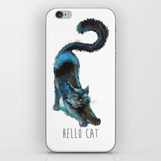 Black Blue Cat Stretching Drawing  iPhone & iPod Skin