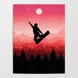 Snowboard Skyline I Poster