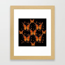 ORANGE MONARCH BUTTERFLIES BLACK MONTAGE Framed Art Print