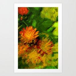 Orange Hawkweed Blossoms Abstract Impressionism Art Print