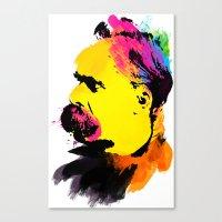 nietzsche Canvas Prints featuring Friedrich Wilhelm Nietzsche by DIVIDUS