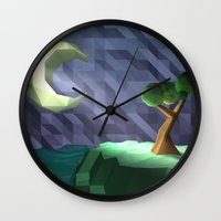 low poly Wall Clocks featuring Low Poly Night by cnrgrn