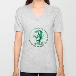 Green Celtic Dragon Unisex V-Neck