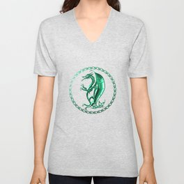 Green Celtic Dragon Unisex V-Neck