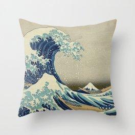 THE GREAT WAVE OFF KANAGAWA - KATSUSHIKA HOKUSAI Throw Pillow
