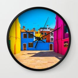 Burano island square and colorful houses, Italy Wall Clock