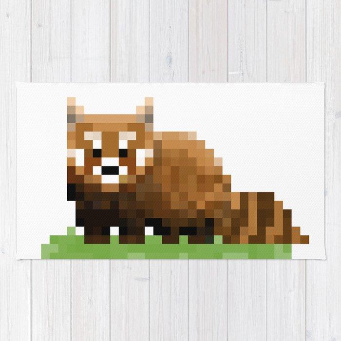 Red Panda Pixel Art Design Thefreeminder Rug By Thefreeminder