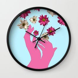 Catching Flowers Wall Clock