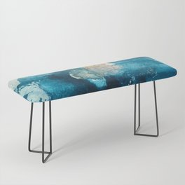Timeless: A gorgeous, abstract mixed media piece in blue, pink, and gold by Alyssa Hamilton Art Bench