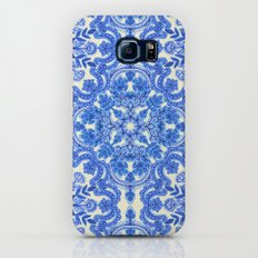 Cobalt Blue & China White Folk Art Pattern Slim Case Galaxy S8