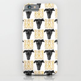 Black Greyhound Faces & Decorative Butterfly Patterns iPhone Case