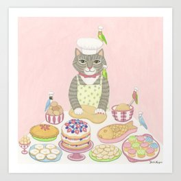 Baker Cat Art Print