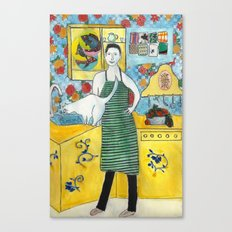 Man with cat in the kitchen Canvas Print
