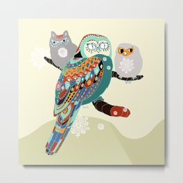 Owly friends Metal Print