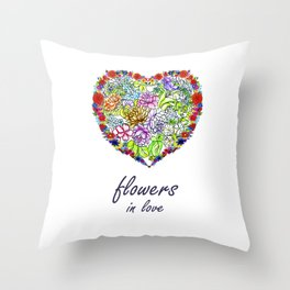 Flowers in Love #Artlove Throw Pillow
