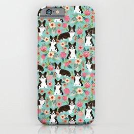 Brindle Cardigan Corgi Florals - cute corgi design, corgi owners will love this mint florals corgi iPhone Case