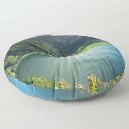 Vulcanic lake on the Azores island in Portugal Floor Pillow