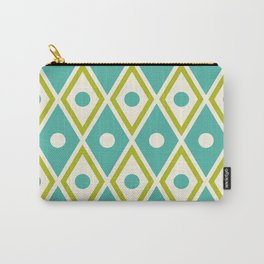 Harlequin Pattern Chartreuse Turquoise Carry-All Pouch